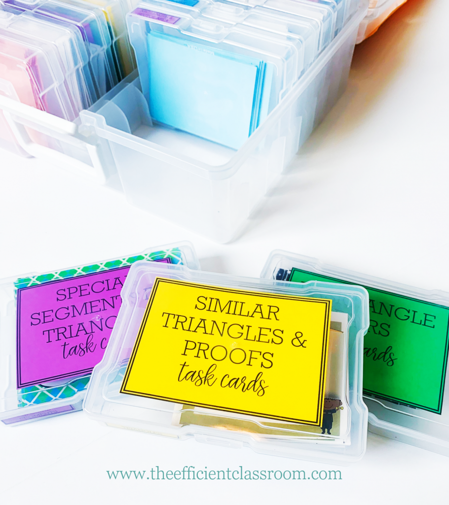 Task Card Boxes with Labels