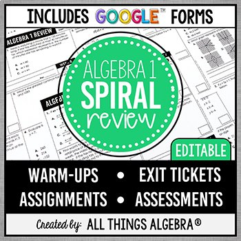 End of Year Algebra Review
