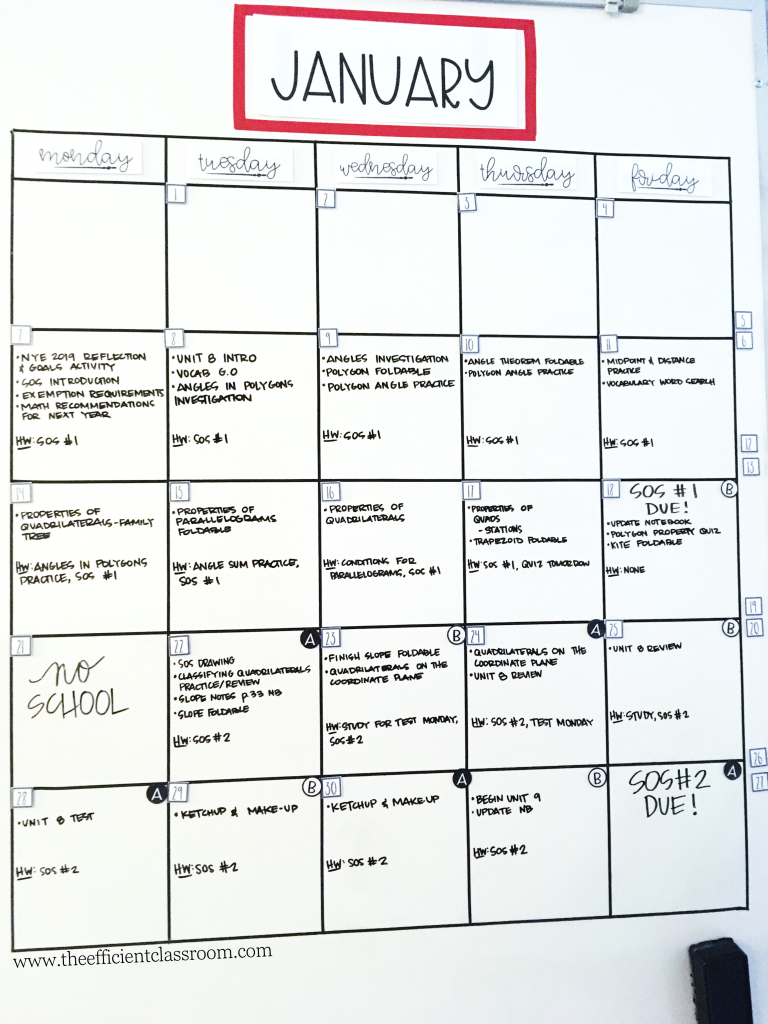 Classroom Calendar with Magnets