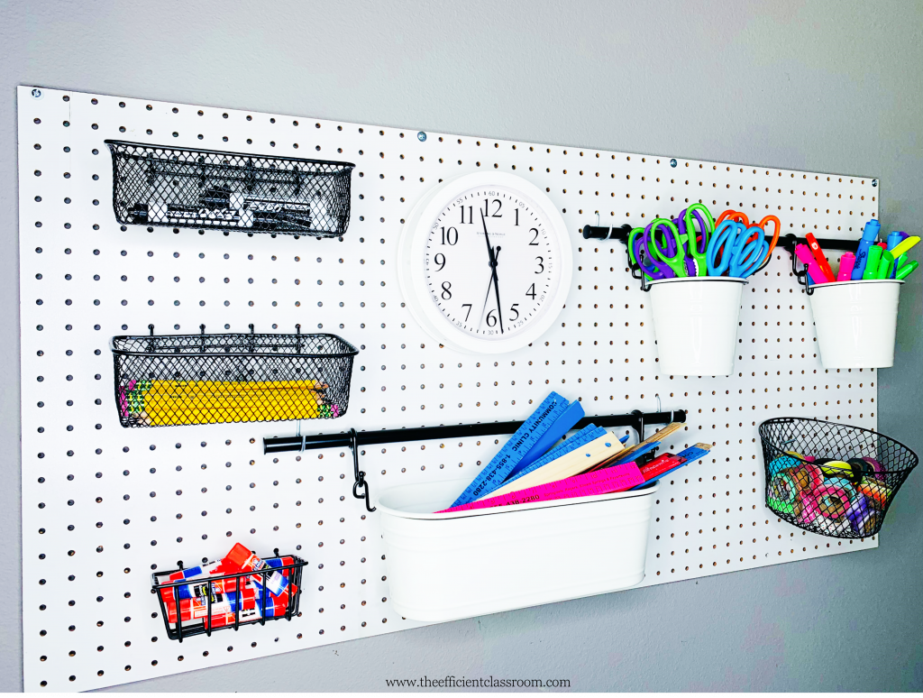 Pegboard with Supplies